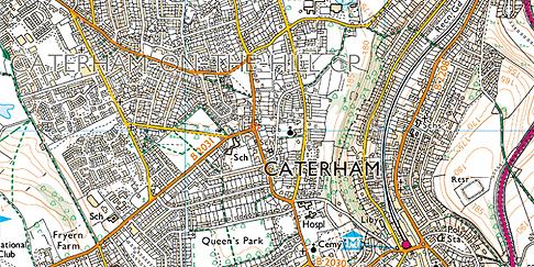 Caterham, Ordnance Survey Map
