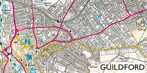 Guildford Ordnance Survey Map