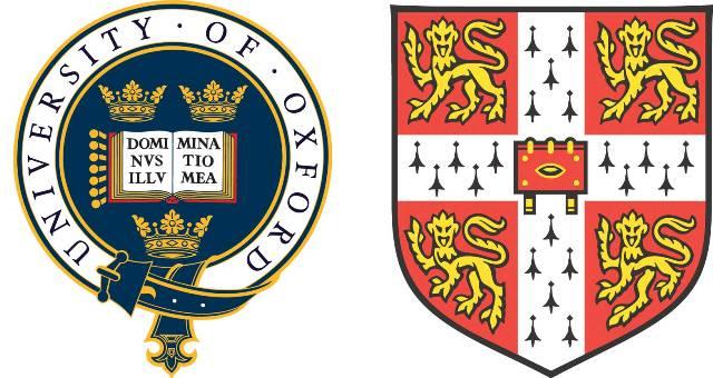 Gli stemmi delle Università di Oxford e Cambridge