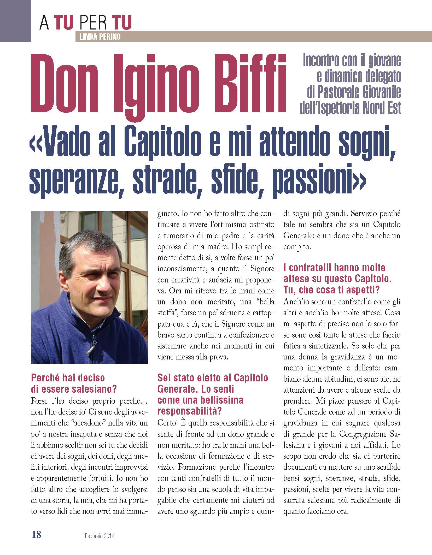 Bollettino Salesiano - Febbraio 2014 - Don Igino Biffi
