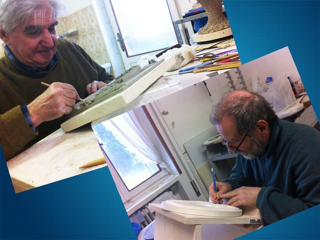 I Maestri Fausto e Lorenzino Schirato al lavoro sulla medaglia e sulla targa Su e Zo 2014!